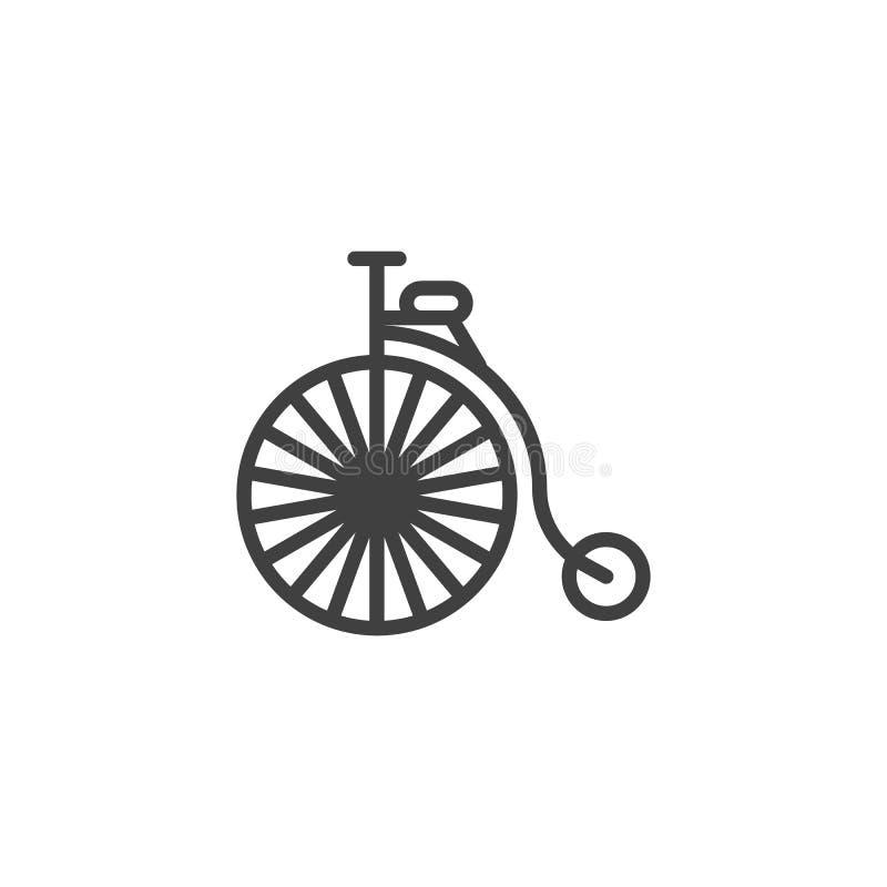 Linha retro ícone da bicicleta do vintage ilustração do vetor