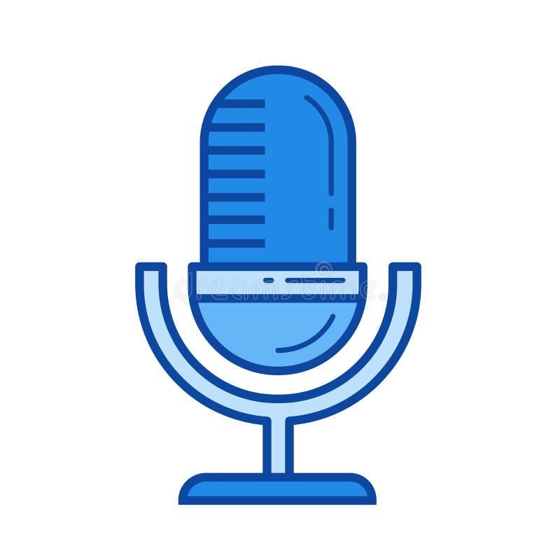 Linha retro ícone do microfone ilustração do vetor