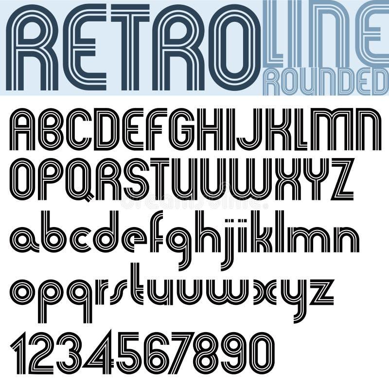 Linha retro fonte à moda, alfabeto do vetor ilustração stock