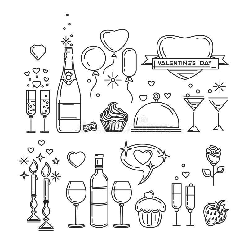 Linha romântica ícones do jantar ajustados ilustração do vetor