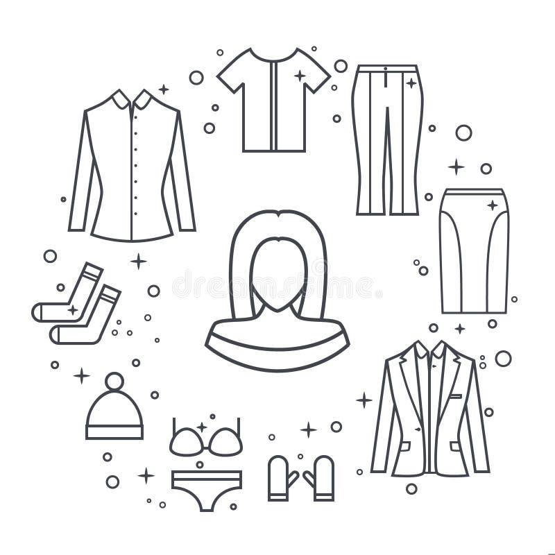 A linha roupa da mulher das meninas do vetor ajustou-se do revestimento, blusa, saia, calças, chapéu, t-shirt ilustração royalty free