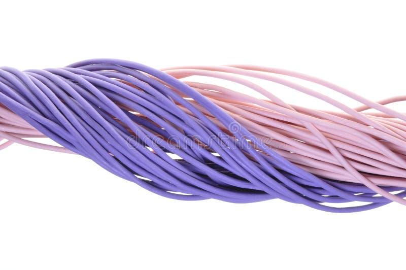 Linha roxa dos cabos imagens de stock