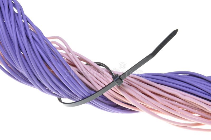 Linha roxa dos cabos imagem de stock