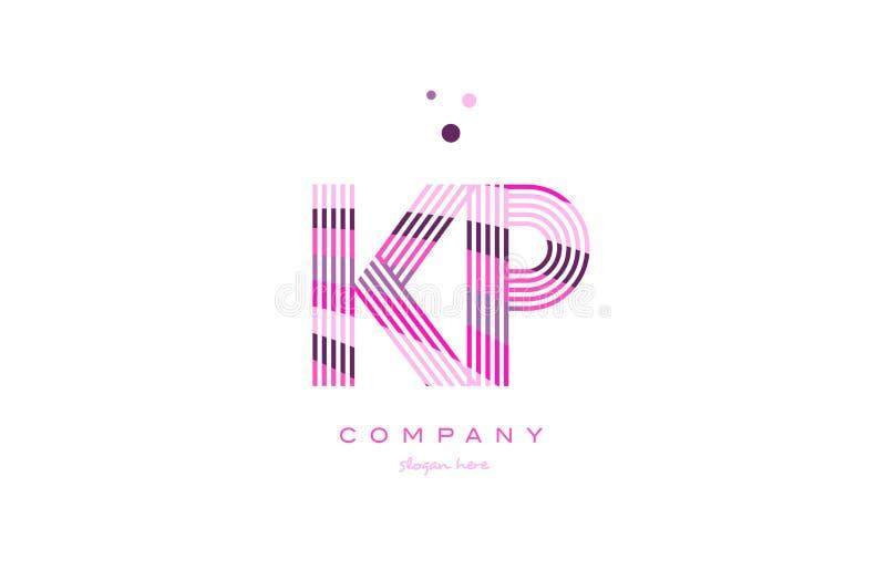 linha roxa vecto do rosa do logotipo da letra do alfabeto da KP k p do molde do ícone ilustração do vetor