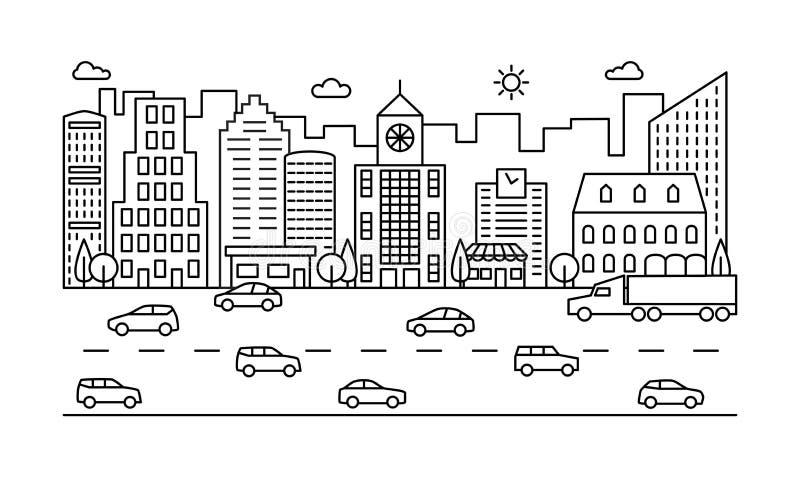 Linha rua da cidade Esboce a cena urbana com construções, estrada e carros Arquitetura da cidade moderna do vetor ilustração stock