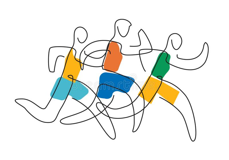 Linha running arte da raça ilustração royalty free