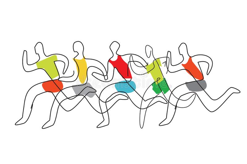 Linha running arte da raça estilizada ilustração royalty free