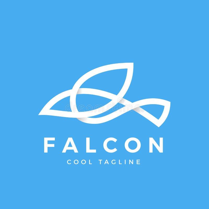 Linha símbolo do pássaro do falcão com sombras macias Ícone, sinal ou Logo Template abstrato do vetor ilustração royalty free