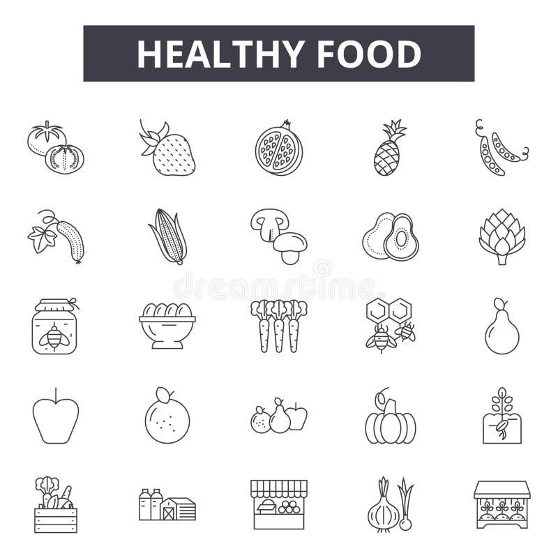 Linha saudável ícones do alimento para a Web e o projeto móvel Sinais editáveis do curso Ilustrações saudáveis do conceito do esb ilustração stock