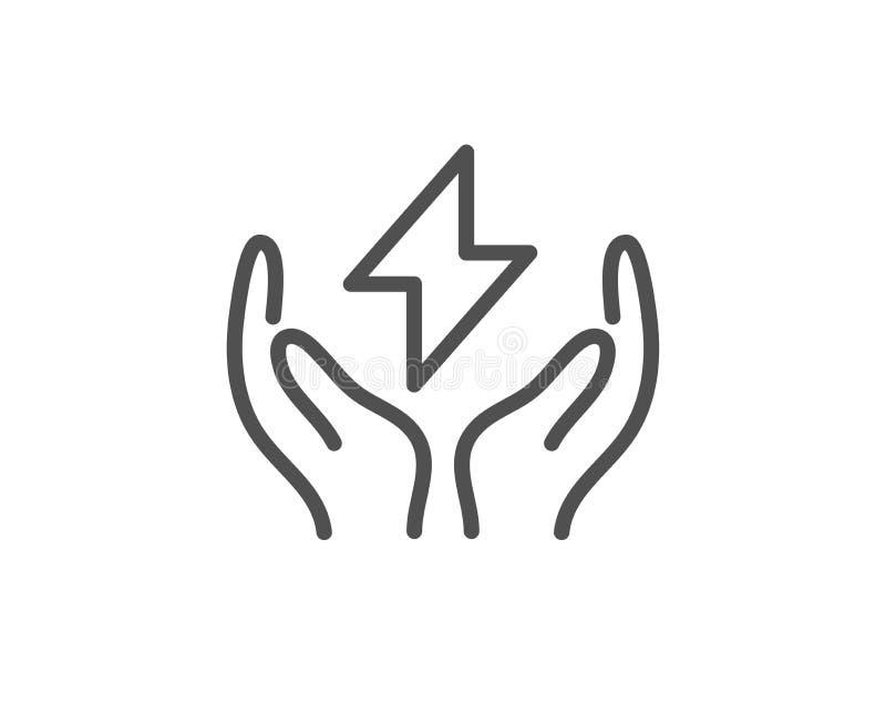 Linha segura ícone da energia Sinal do raio Energia el?ctrica Vetor ilustração royalty free