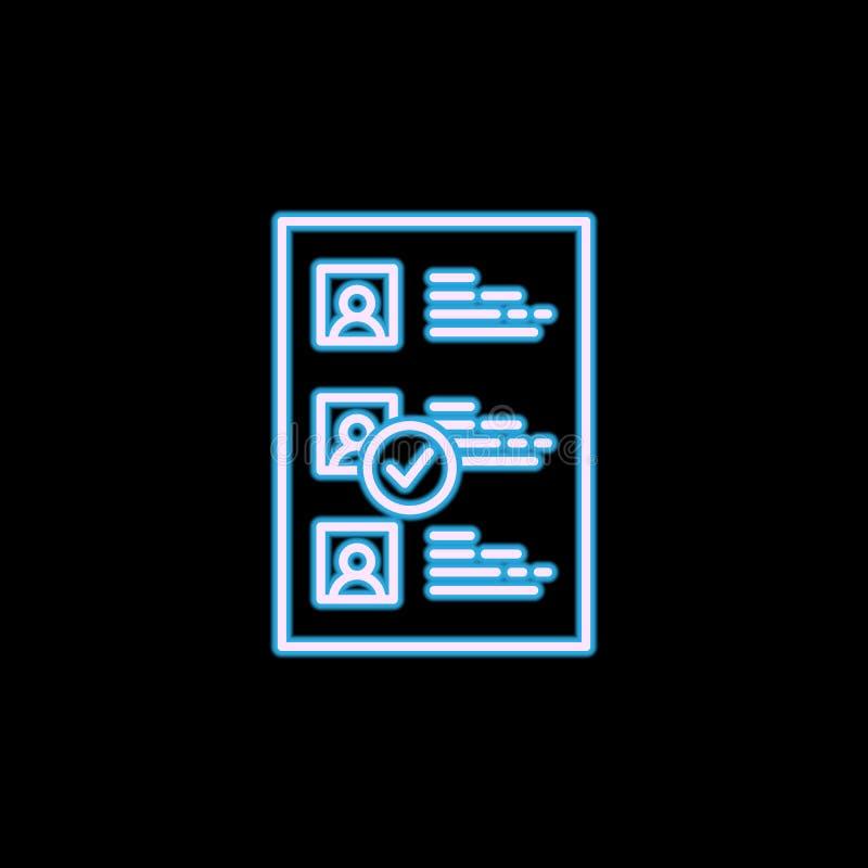 Linha selecionada ícone do CV no estilo de néon Um de caçar cabeças, ícone da coleção da hora pode ser usado para UI, UX ilustração stock