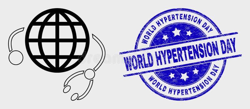 Linha selo global do selo do ícone do vetor do serviço médico e do dia da hipertensão do mundo da aflição ilustração royalty free