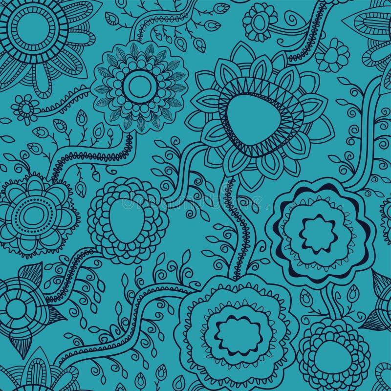 Linha sem emenda floral trabalho do fundo ilustração do vetor