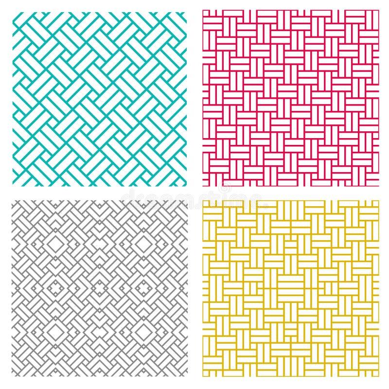 Linha sem emenda geométrica teste padrão do weave no estilo coreano ilustração royalty free