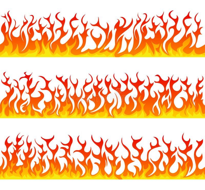 Linha sem emenda grupo das chamas do fogo do vetor ilustração royalty free