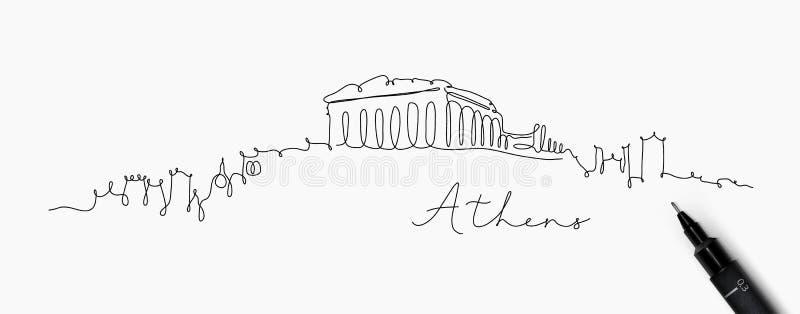 Linha silhueta Atenas da pena ilustração royalty free