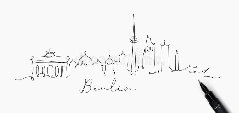 Linha silhueta Berlim da pena ilustração do vetor