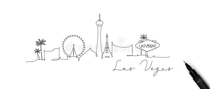Linha silhueta Las Vegas da pena ilustração do vetor