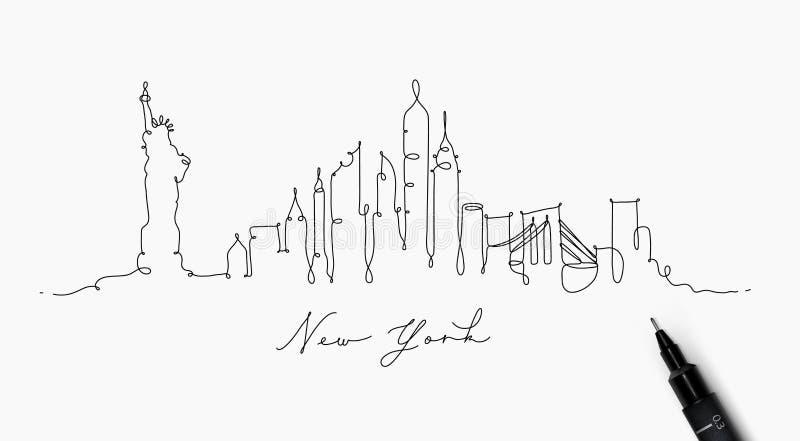 Linha silhueta New York da pena ilustração stock