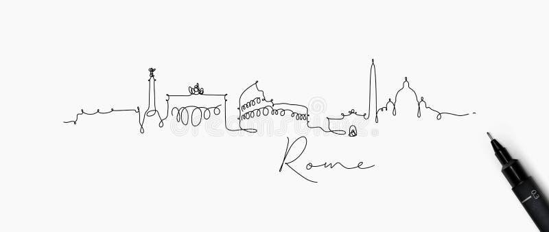 Linha silhueta Roma da pena ilustração stock