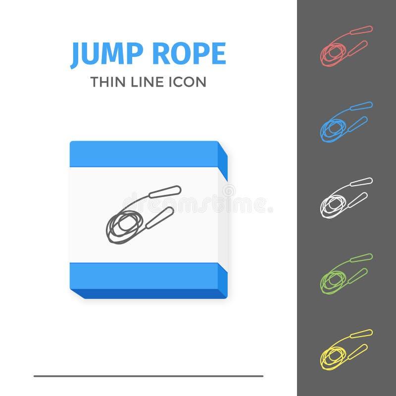 Linha simples ícone afagado do vetor da corda de salto ilustração stock