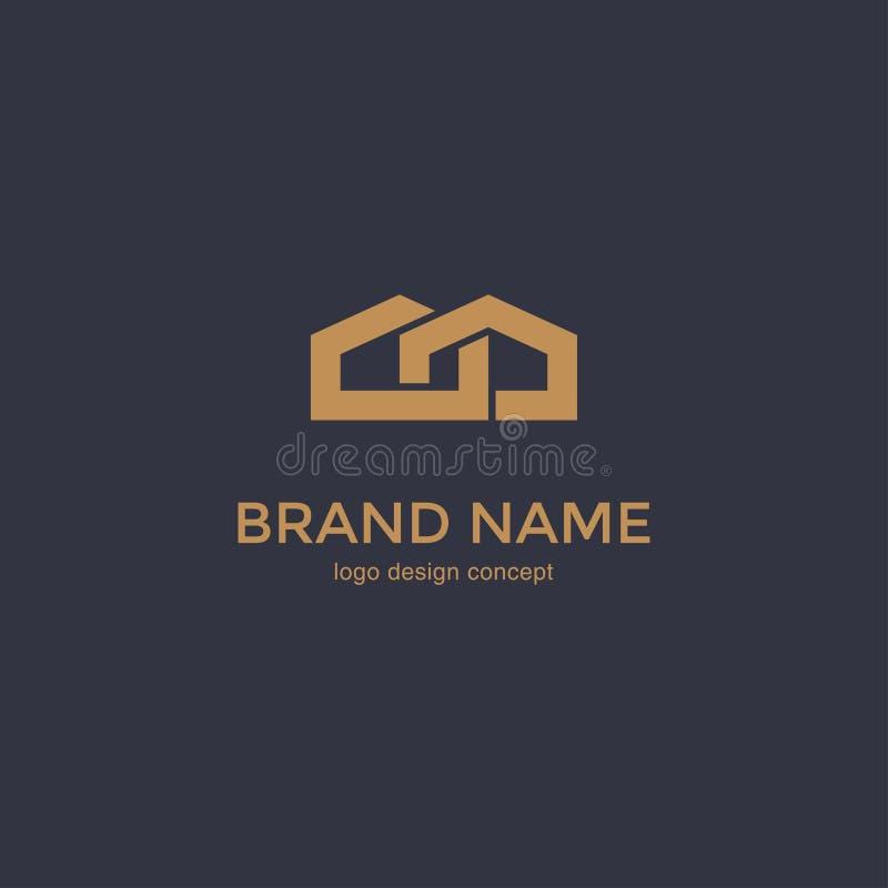 Linha simples ícone da casa Molde do projeto do logotipo ilustração royalty free