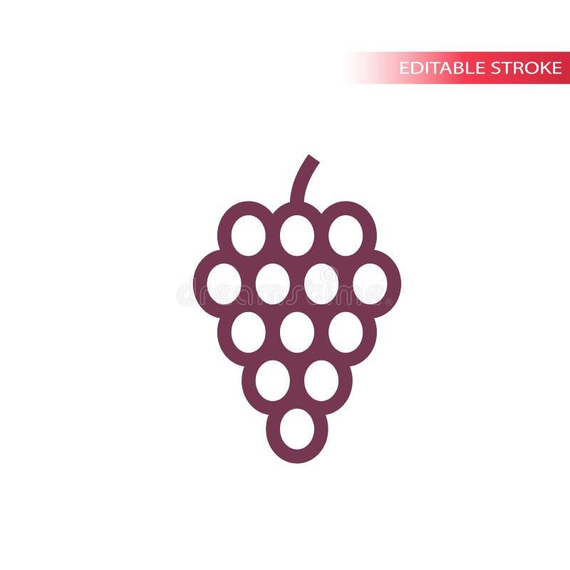 Linha simples ícone da uva na cor Ícone do vetor da uva do esboço ilustração royalty free