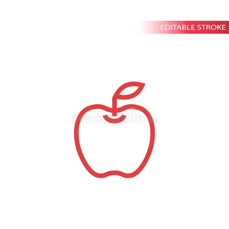 Linha simples ícone de Apple na cor Ícone do vetor da maçã do esboço ilustração stock