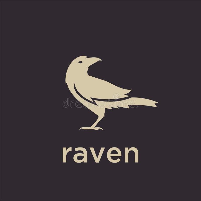 A linha simples ícone do esboço do preto do logotipo do corvo do logotipo da silhueta do grupo projeta o vetor para o selo do  ilustração do vetor