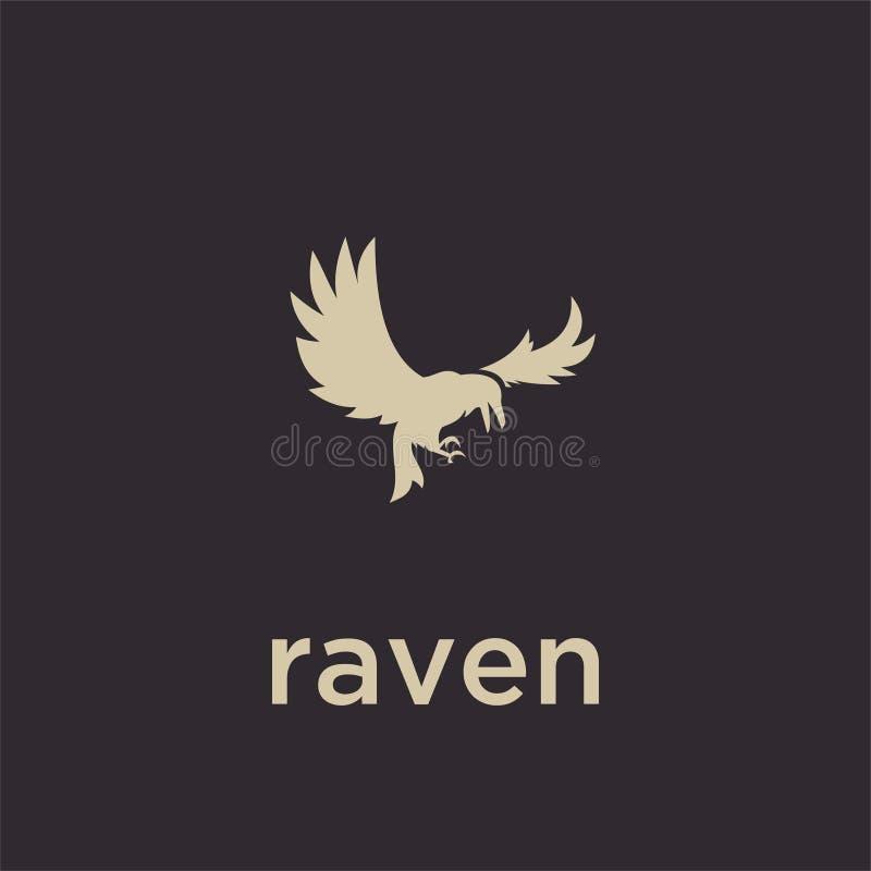 A linha simples ícone do esboço do preto do logotipo do corvo do logotipo da silhueta do grupo projeta o vetor para o selo do à fotografia de stock