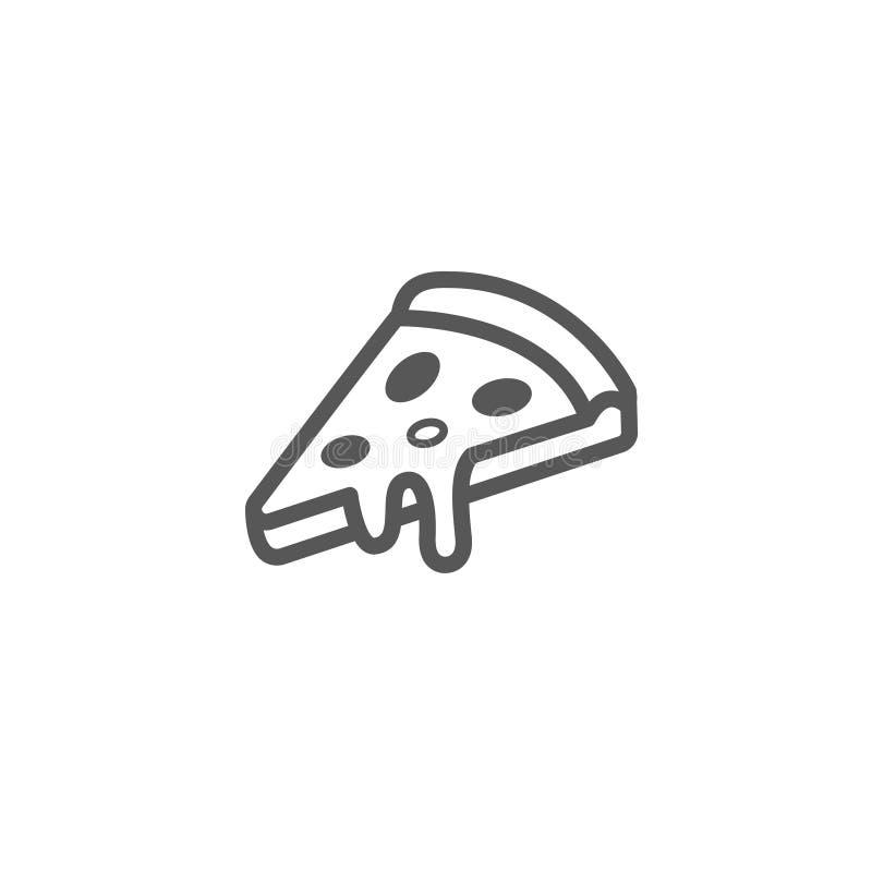 Linha simples ícone do esboço do vetor da arte de uma fatia de pizza ilustração royalty free