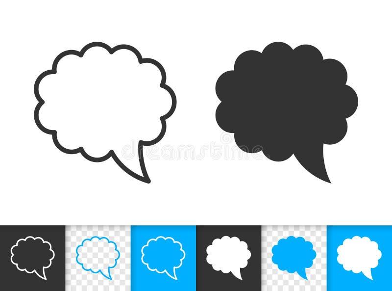 Linha simples ícone do preto do crachá da bolha do discurso do vetor ilustração stock