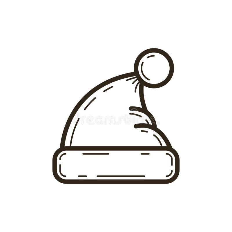Linha simples ícone do vetor da arte do chapéu do inverno com pom-pom ilustração royalty free