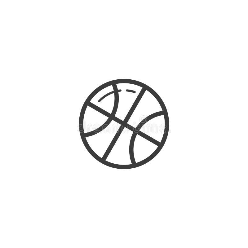 Linha simples ícone do vetor da bola do basquetebol do esboço da arte ilustração do vetor