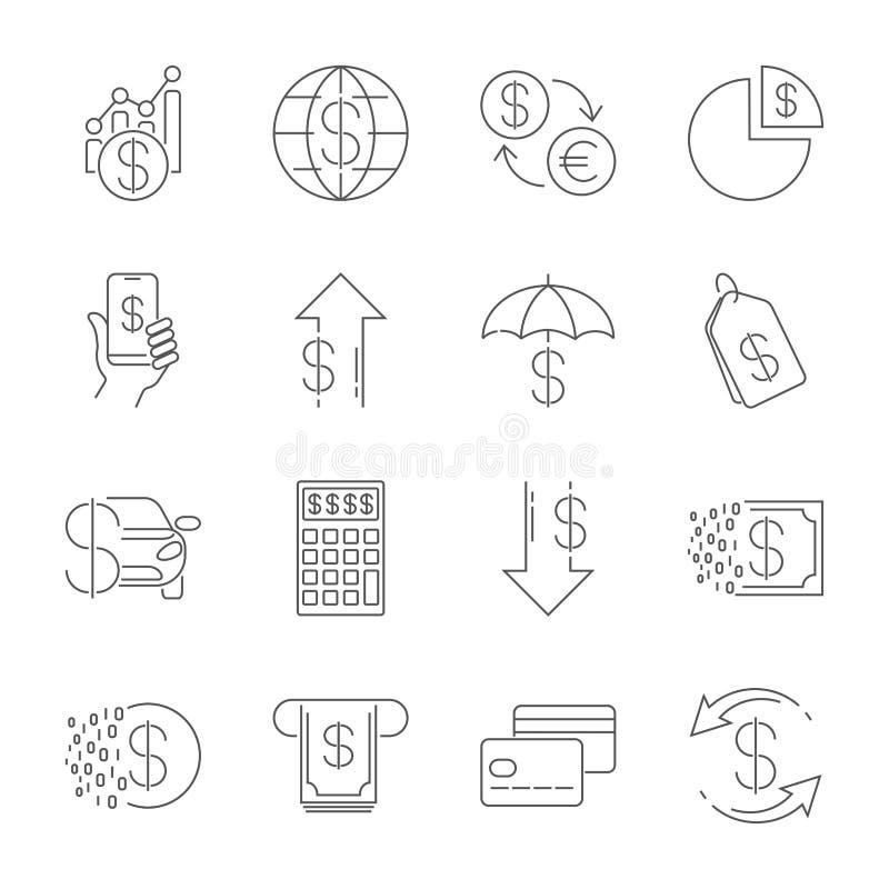 A linha simples ícones da Web ajustou - o dinheiro, finança, pagamentos Contém ícones como a carteira, ATM, cálculo e mais editab ilustração do vetor