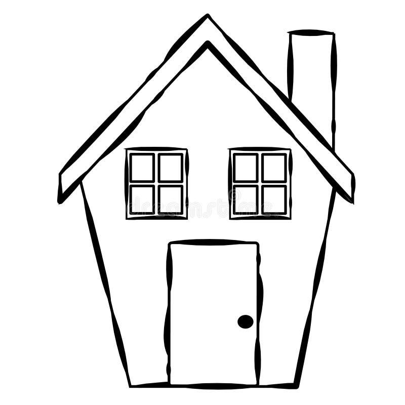 Linha simples arte da casa ilustração stock