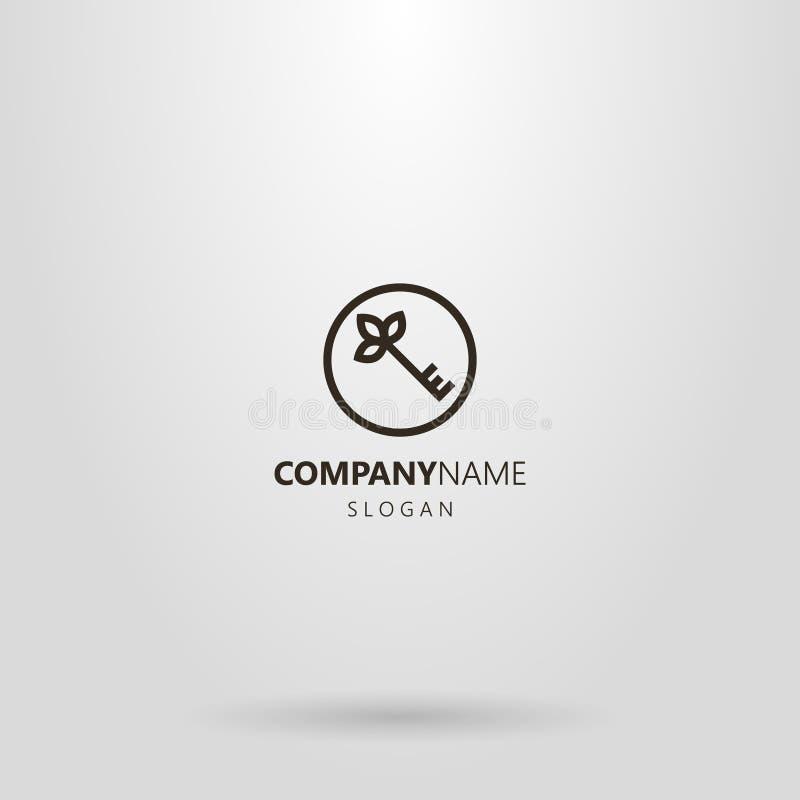 linha simples chave do logotipo da arte com as p?talas na parte superior em um quadro redondo ilustração stock