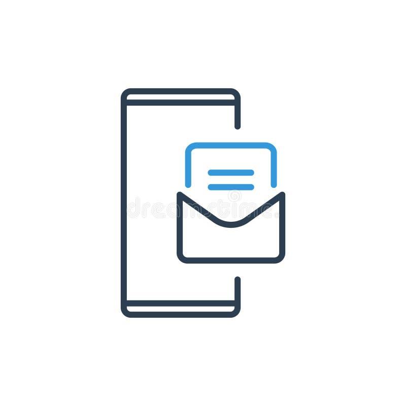 Linha simples de ícone do vetor do telefone celular - notificação do e-mail e da mensagem ilustração stock