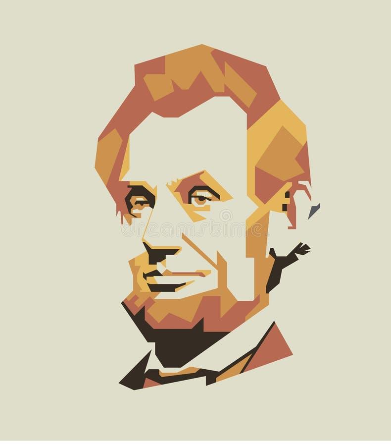 A linha simples de Abraham Lincoln e a cor simples vector o retrato/eps ilustração do vetor