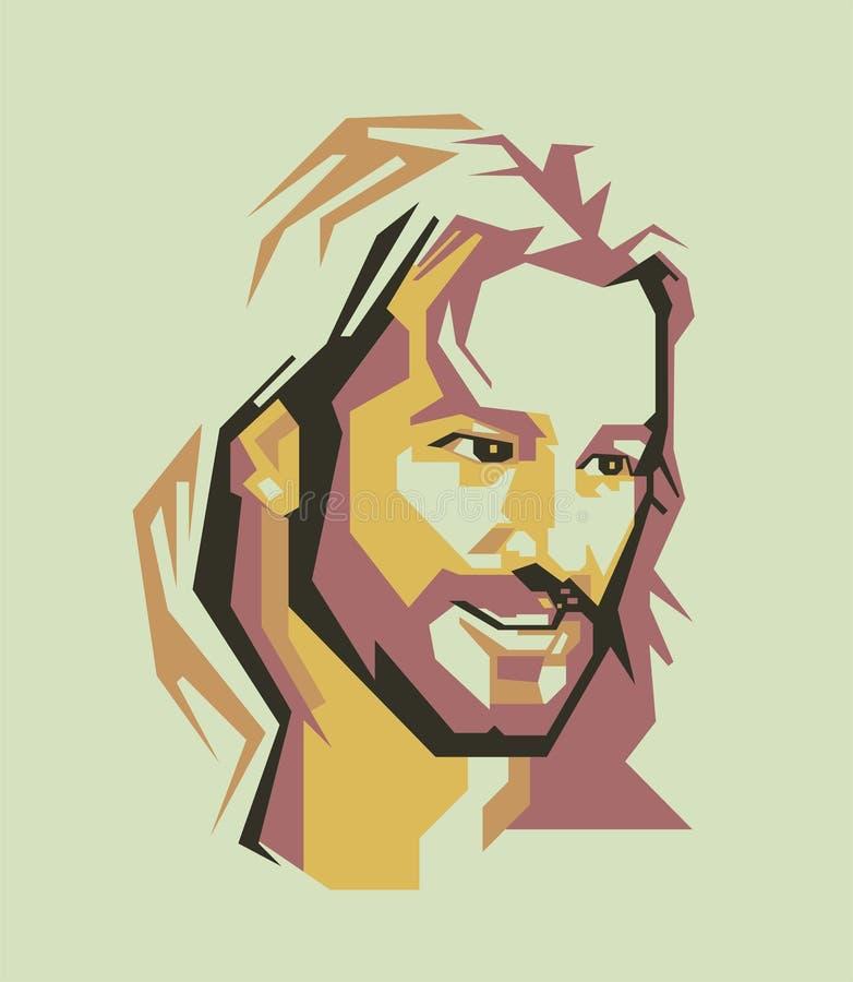 A linha simples de Jesus Christ e a cor simples vector o retrato/eps ilustração royalty free