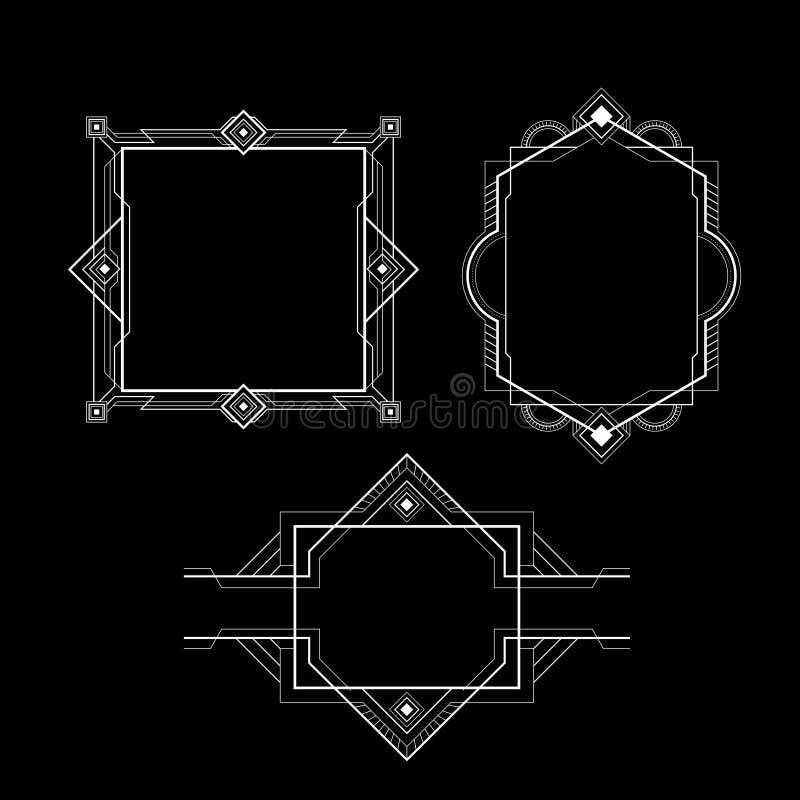 Linha simples do quadro de Artdeco ilustração do vetor