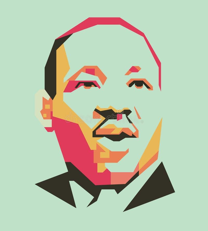 A linha simples do rei Martin Luther e a cor simples vector o retrato/eps ilustração stock