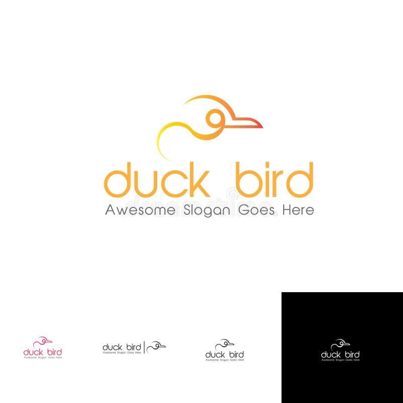 Linha simples Duck Bird Logo Template para o fastfood ilustração stock
