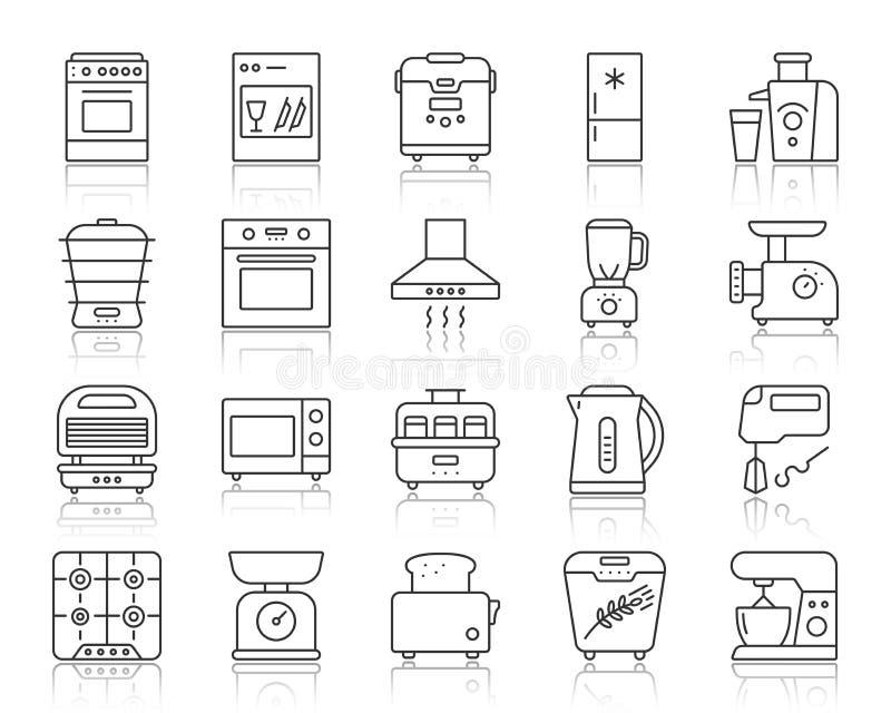 Linha simples grupo do dispositivo de cozinha do vetor dos ícones ilustração stock