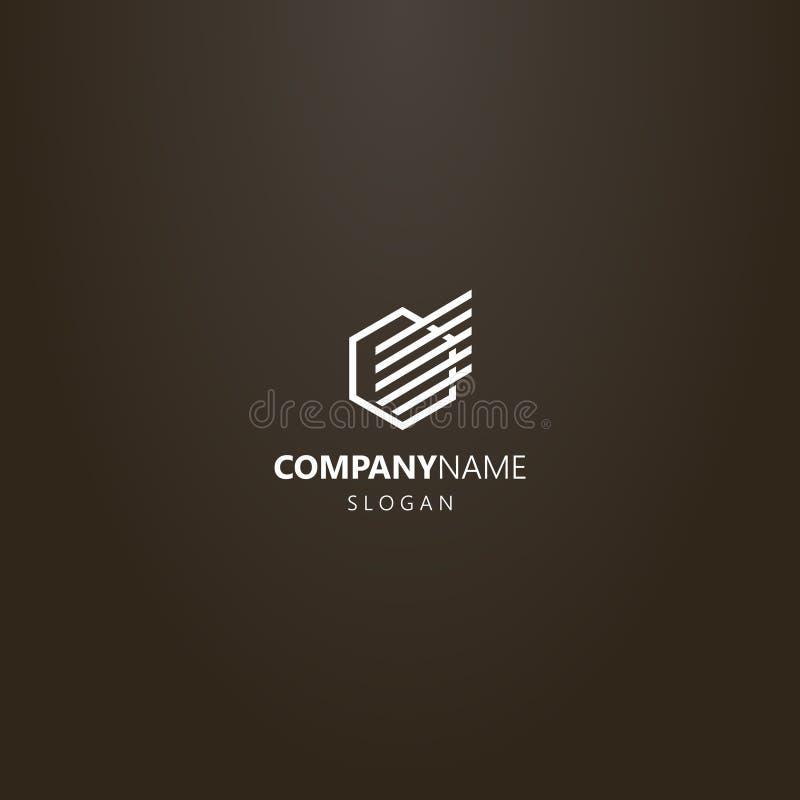 Linha simples hexágono moderno do vetor do logotipo da arte com uma asa abstrata linear nela ilustração royalty free