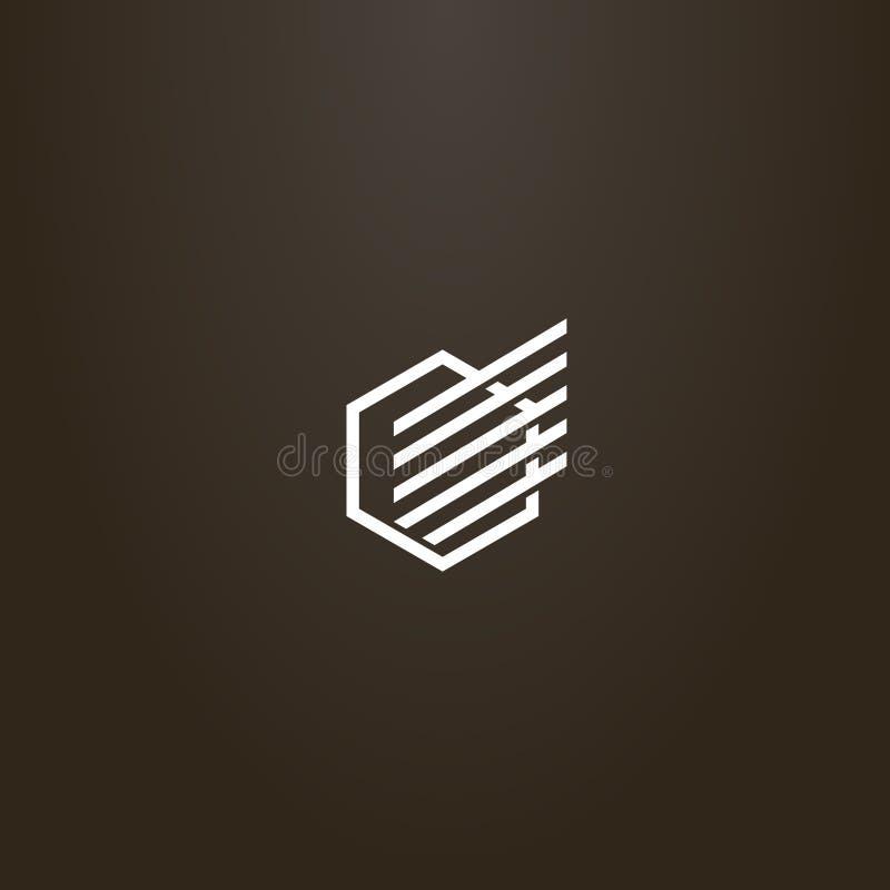 Linha simples hexágono moderno do vetor do sinal da arte com uma asa abstrata linear nela ilustração royalty free