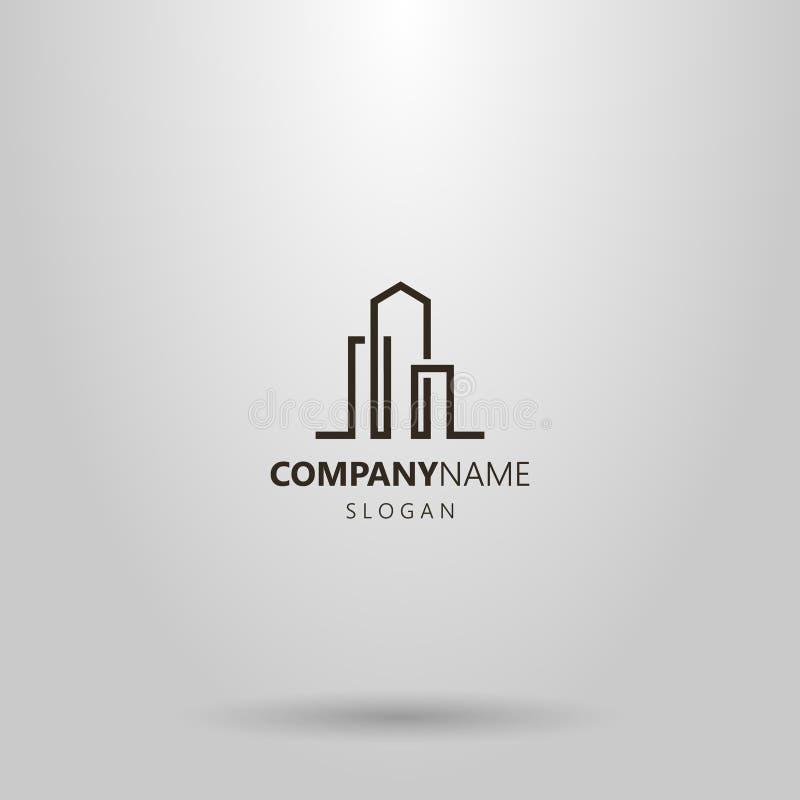 Linha simples logotipo abstrato do vetor da arte de três prédios ilustração royalty free
