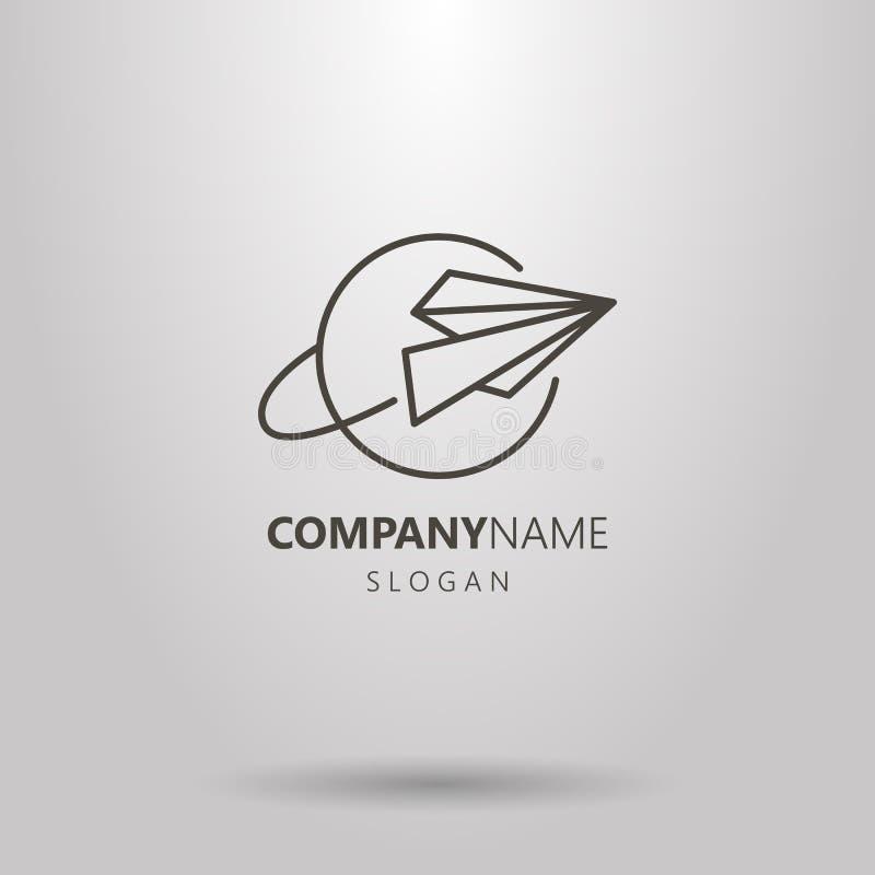 Linha simples logotipo do vetor da arte do avião de papel e do planeta ilustração stock