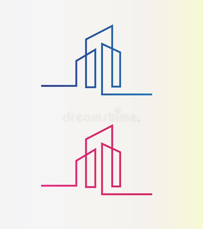 Linha simples logotipo Logotipo ou ?cone do vetor para a empresa de constru??o civil [convertida] ilustração stock