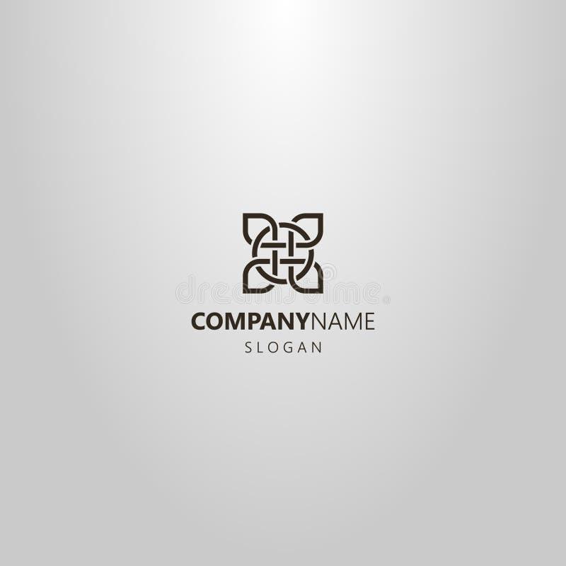 Linha simples logotipo quadrado do vetor da arte do elemento do ornamento celta ilustração royalty free